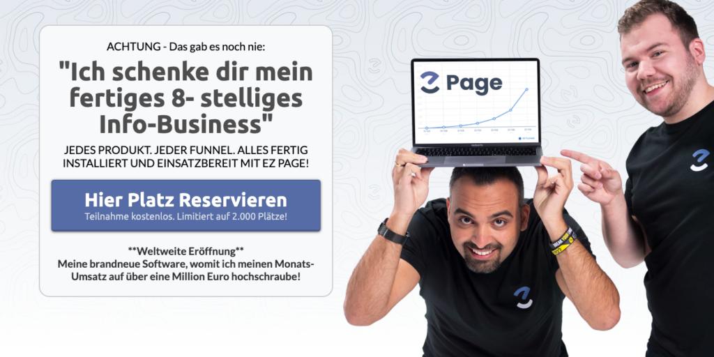 EZPage Webinar anmeldung